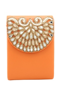 Rossoyuki orange bead & mirror work  box clutch