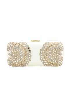 White bead & mirror work box clutch