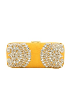 Rossoyuki Yellow bead & mirror work box clutch