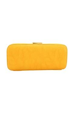 Yellow bead & mirror work box clutch