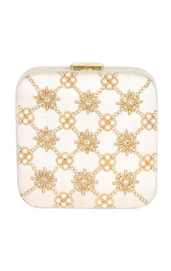 Rossoyuki cream bead & mirror work box clutch