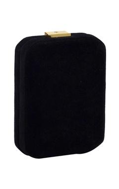 black box clutch with silver zardozi embellishments