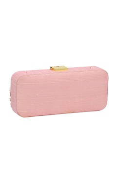 Baby pink bead & mirror work box clutch