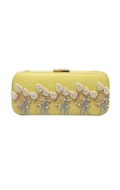 Rossoyuki pastel yellow bead & mirror work box clutch