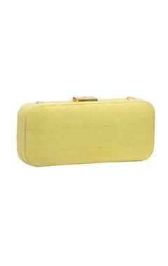 Pastel yellow bead & mirror work box clutch