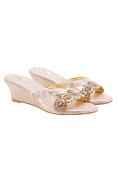 Stoffa Beige embellished wedges