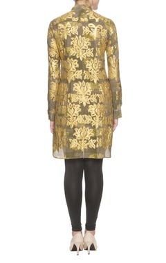 Gold cutwork embroidered dress