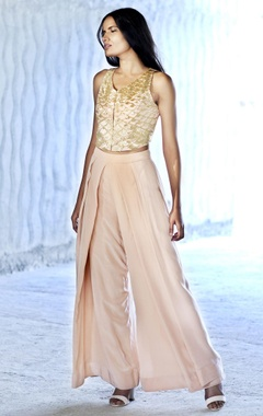 blush pink and sequin crop top with flared pants
