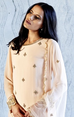 blush pink embroidered dress with churidar and dupatta