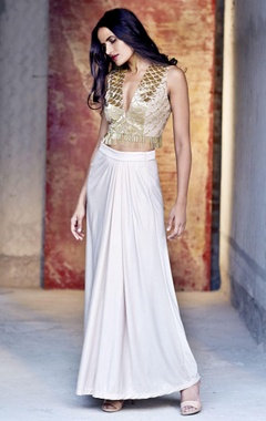 blush gold embroidered crop top with a long skirt