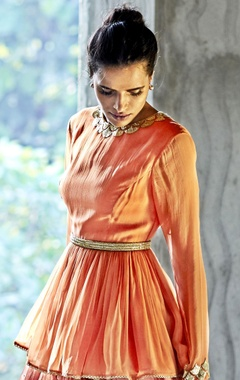 orange & oxblood embellished top & lehenga