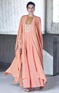 orange embroidered pleated jumpsuit