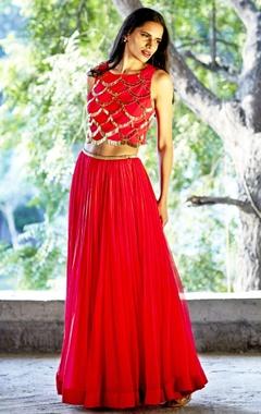 red embellished crop top & lehenga