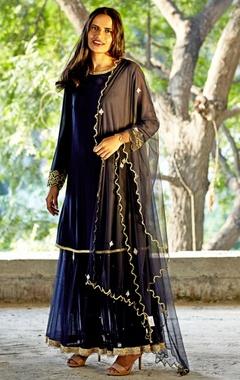 navy blue embellished dress with churidar & dupatta