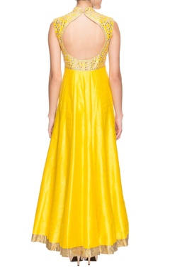 Sunflower yellow mirror work  anarkali with dupatta