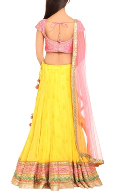 Yellow & pink embroidered lehenga set
