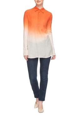 Saffron & white ombre kurti shirt