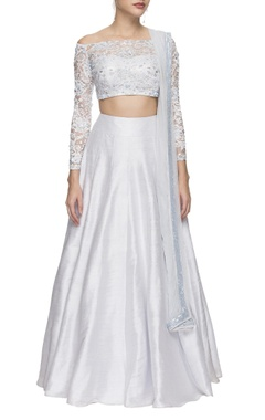 Ice blue lace crop top and lehenga