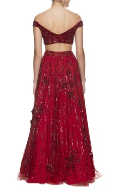 Deep cherry red shimmer lehenga set