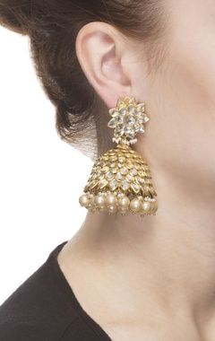 Gold kundan studded jhumkas with pearls