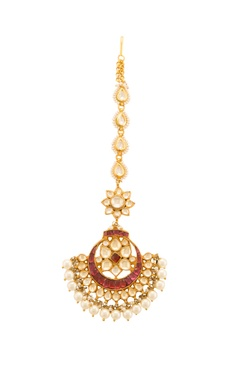 Gold & ruby red studded maangtika