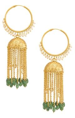 Gold & emerald green hoop jhumkas
