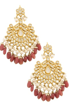 Gold & ruby red chaand baalis