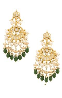 Gold and emerald green kundan drop earrings