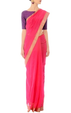 Rani pink handwoven sari with a rose gold border