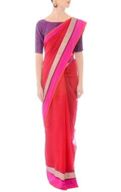 Red handwoven sari with silver striped drape