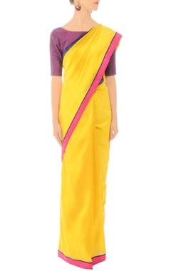 Sunflower yellow handwoven sari with striped drape