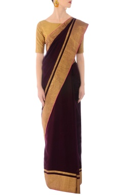 Burgundy handwoven sari with golden striped drape