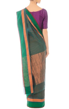 Bottle green handwoven sari with rose gold border