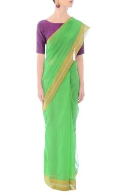 Pastel green silk handwoven sari