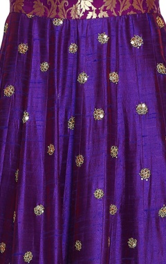 purple & royal blue embroidered lehenga set