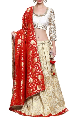 cream, red and gold embroidered lehenga set