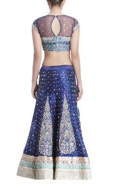 Indigo mirror work lehenga set