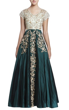 Emerald green & aqua blue embroidered gown