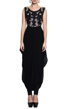 Black embroidered dhoti-style dress