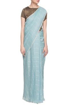Sky blue handwoven linen sari