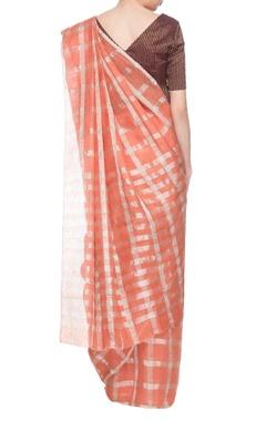 Coral orange linen silk handwoven sari