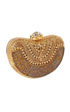 Be Chic Brown brass clutch with broken glass accents