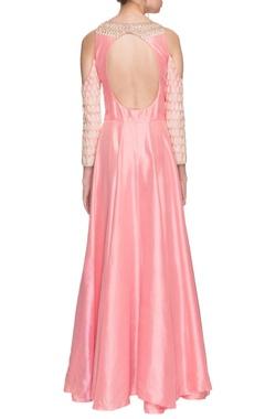 Light pink cold shoulder anarkali with dupatta
