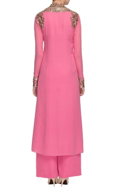 Pink mirror and sequin embellished kurta with palazzo