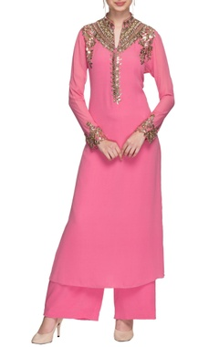 Manish Malhotra Pink mirror and sequin embellished kurta with palazzo