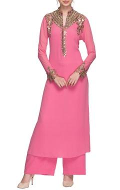 Pink mirror embellished kurta with palazzo