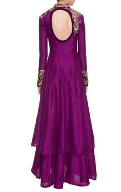 Purple resham embroidered kurta set