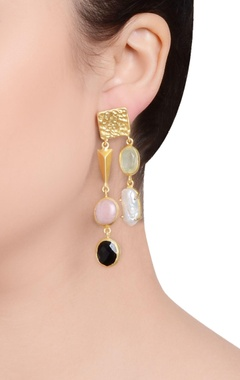 Gold finish studded drop earrings with semi-precious stones