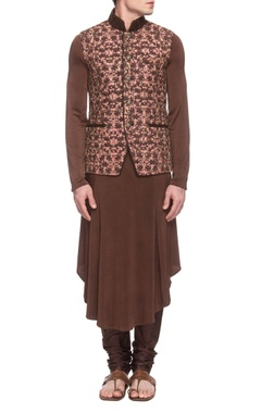 Sarab Khanijou dusty pink embroidered waistcoat with a  brown kurta & churidar
