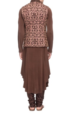 dusty pink embroidered waistcoat with a  brown kurta & churidar